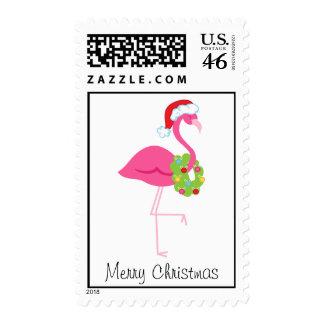 Christmas Pink Flamingo Postage Stamp