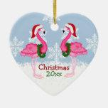 Christmas Pink Flamingo Wearing Santa Hats Double-Sided Heart Ceramic Christmas Ornament