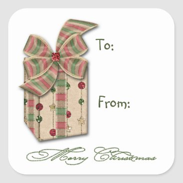 Christmas Themed Christmas Pink Green Package With Ribbons Gift Tag