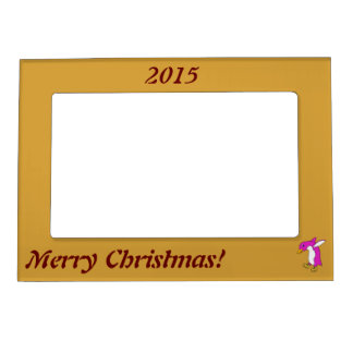Christmas Pink Penguin with Gold Ice Skates Magnetic Frame