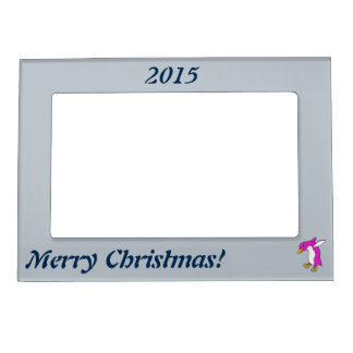 Christmas Pink Penguin with Gold Ice Skates Magnetic Photo Frame