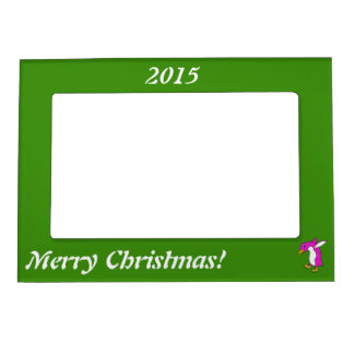 Christmas Pink Penguin with Gold Ice Skates Magnetic Picture Frame