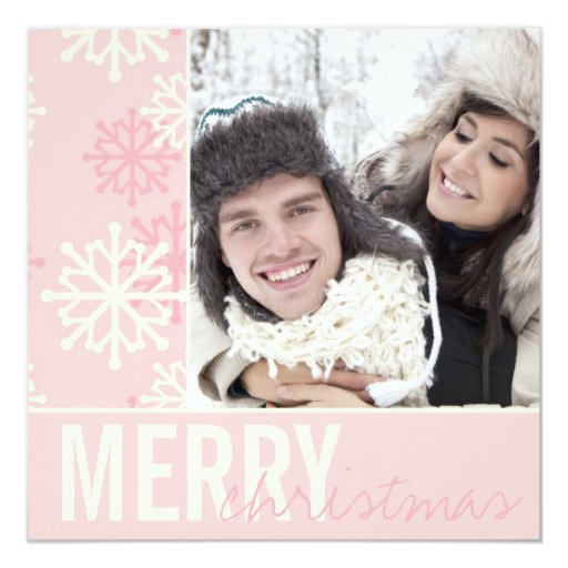 Christmas Pink Snow Holiday Photo Card