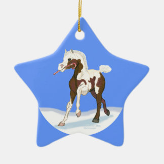 Christmas Pinto Foal Ceramic Ornament