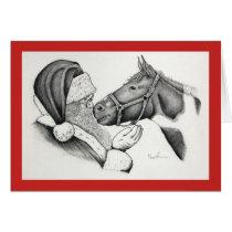 Christmas Pinto Paint Horse and Santa Card