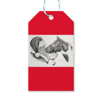 Christmas Pinto Paint Horse and Santa Gift Tags