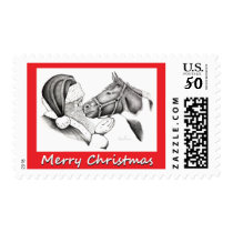Christmas Pinto Paint Horse and Santa Postage