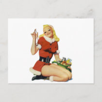 Christmas Pinup Holiday Postcard