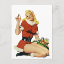 Christmas Pinup Holiday Postcard