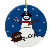 Christmas Pirate Snowman Ornament