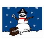 Christmas Pirate Snowman Postcard