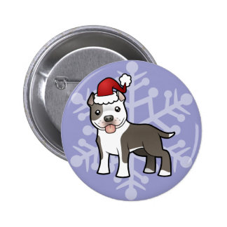 Christmas Pitbull / American Staffordshire Terrier Button
