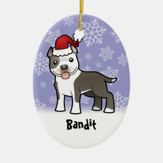 Christmas Pitbull / American Staffordshire Terrier Double-Sided Oval Ceramic Christmas Ornament