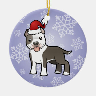 Christmas Pitbull / American Staffordshire Terrier Ornament