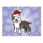 Christmas Pitbull / American Staffordshire Terrier Postcard