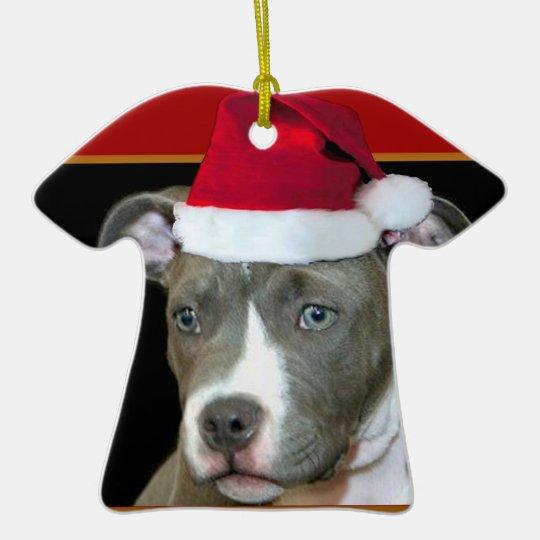 Christmas pitbull ceramic ornament