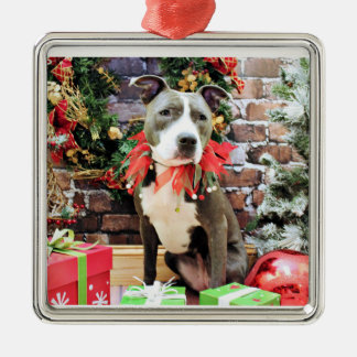 Christmas - Pitbull - Charm Square Metal Christmas Ornament