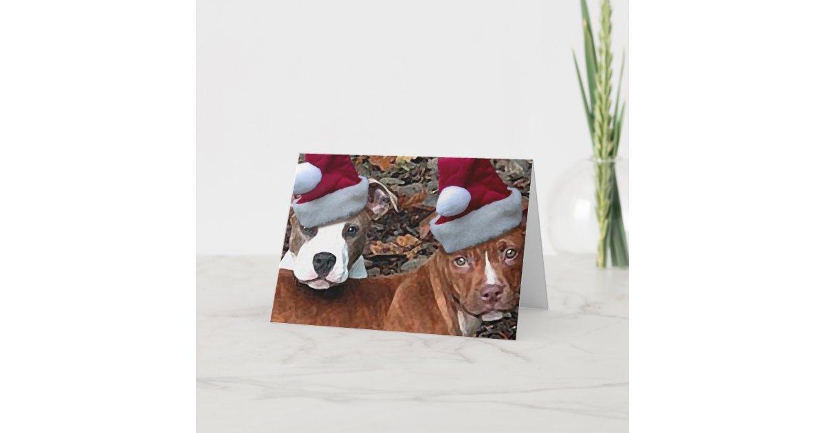 Christmas Pitbull Puppies Greeting Cards | Zazzle.com