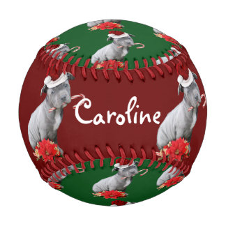 Christmas Pitbull puppy Baseball