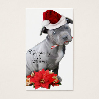 Christmas Pitbull puppy Business Card