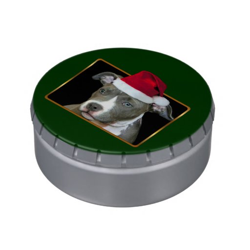 Christmas Pitbull puppy Candy Tins