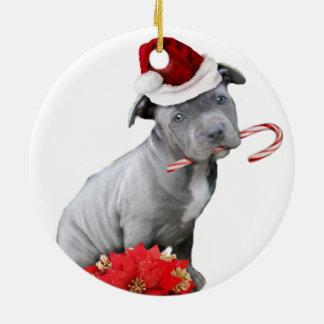 Christmas pitbull puppy ceramic ornament
