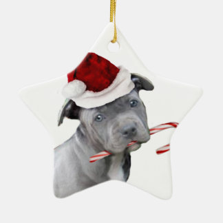 Christmas pitbull puppy ceramic ornament