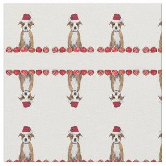 Christmas pitbull puppy pattern Fabric
