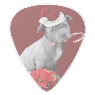 Christmas Pitbull puppy White Delrin Guitar Pick