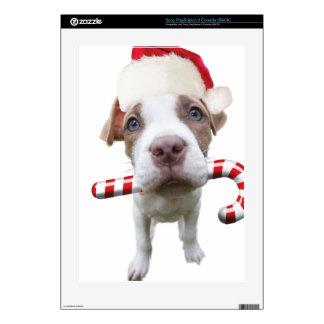 Christmas pitbull - santa pitbull -santa claus dog PS3 console decals