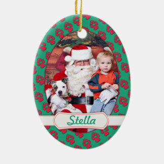 Christmas - Pitbull X - Stella Double-Sided Oval Ceramic Christmas Ornament