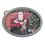 Christmas - Pitbulls - Mia & Lucian Oval Belt Buckle