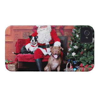Christmas - Pitbulls - Mia & Lucian iPhone 4 Case-Mate Case