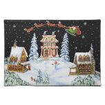 Christmas,place mat,Santa,Claus,rabbits,snowman
