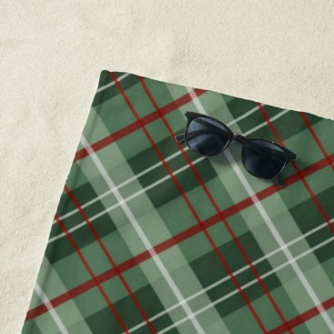 Beach Themed Christmas Plaid Beach Towel