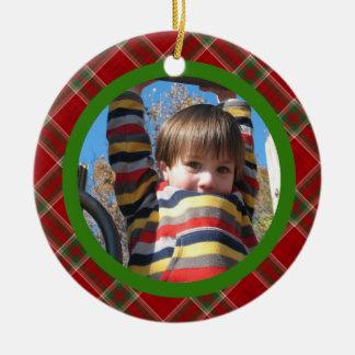 Christmas Plaid Ceramic Ornament