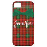 Christmas Plaid Cute Red Green Gift Custom Name iPhone SE/5/5s Case