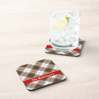 Christmas Plaid ~ Personalized Beverage Coaster
