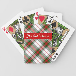 Christmas Plaid ~ Personalized Bicycle Playing Cards