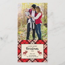 Christmas plaid photo card in red and black