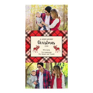 Christmas Plaid photo card with Moose