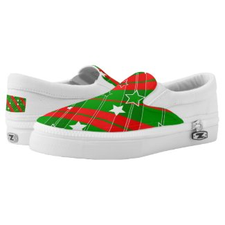 Christmas Plaid Red Green Stripes White Stars Shoes