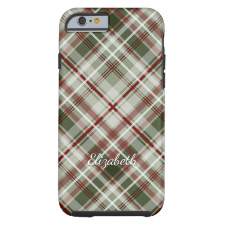Christmas plaid red green white tough iPhone 6 case