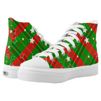 Christmas Plaid Red Green with White Stars