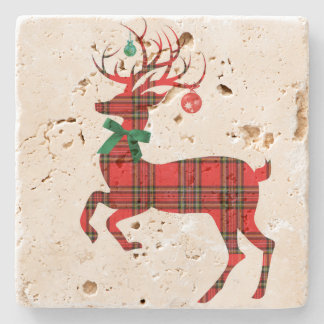 Christmas Plaid Reindeer w Ornament Antlers! Stone Coaster