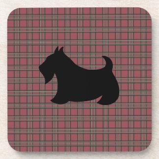 Christmas Plaid Scottish Terrier Coasters