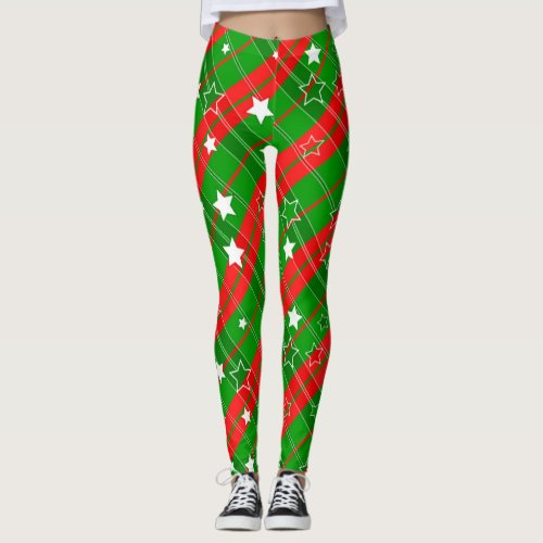 Christmas Plaid Stripes and STars Leggings