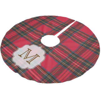 Christmas Plaid Tartan Monogram Initial Tree Skirt