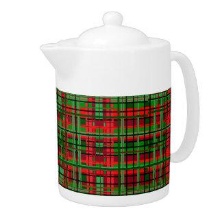 Christmas plaid teapot
