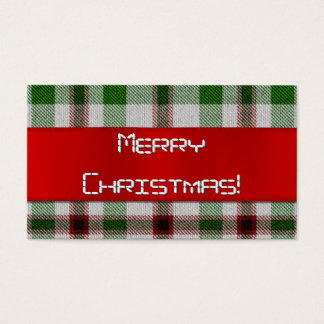 Christmas Plaid With Red Ribbon Gift Tag